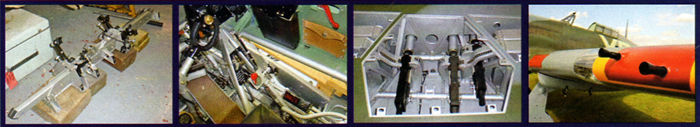 Above from left : A bomb rack; the bomb-release switch panel in the lower right-hand ride of the cockpit; the starboard wing gun-bay, showing the 0.303in Browning machine guns and ammunition feeds; the unusual configuration of the two outer guns on the port wing.