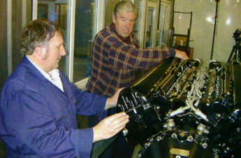 Maurice Hammond (left) and Roy Nobel with the Merlin III